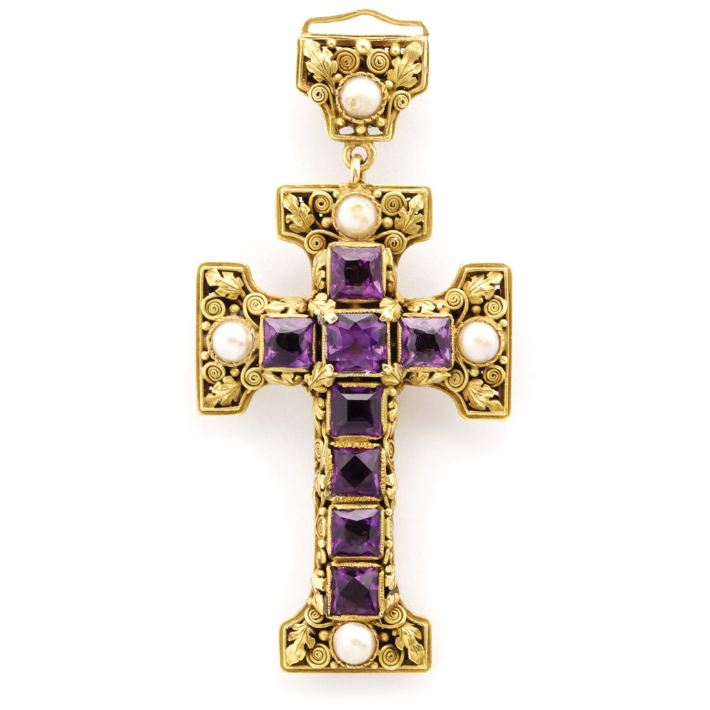 front view, Arts and Crafts Gold and Amethyst Cross Pendant