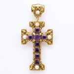 main view side 1, Arts and Crafts Gold and Amethyst Cross Pendant