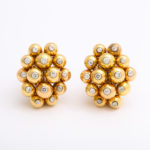 main view, 1950s Gold and Diamond Cluster Earrings by Cartier