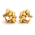 side view, 1950s Gold and Diamond Cluster Earrings by Cartier