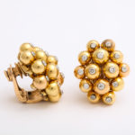 with side view, 1950s Gold and Diamond Cluster Earrings by Cartier