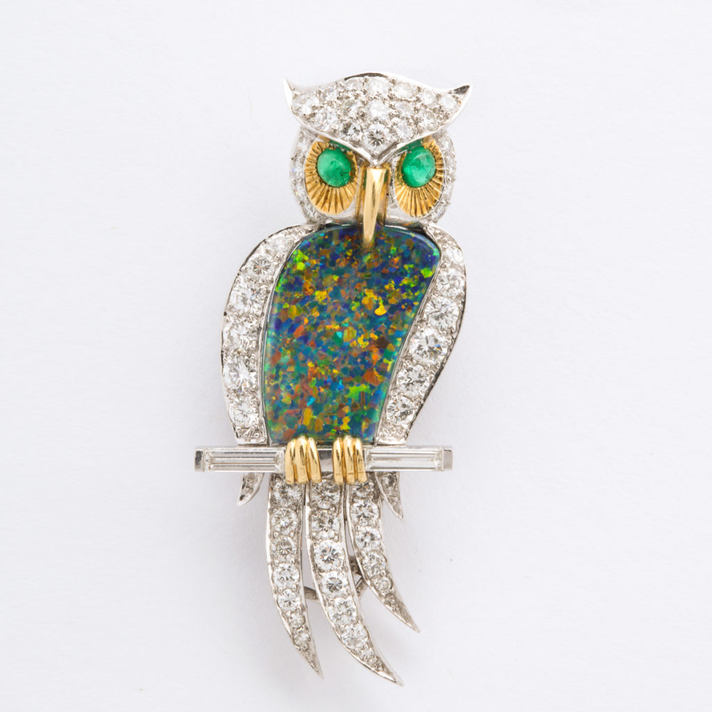 main view, 1950s Black Opal and Diamond Owl Brooch