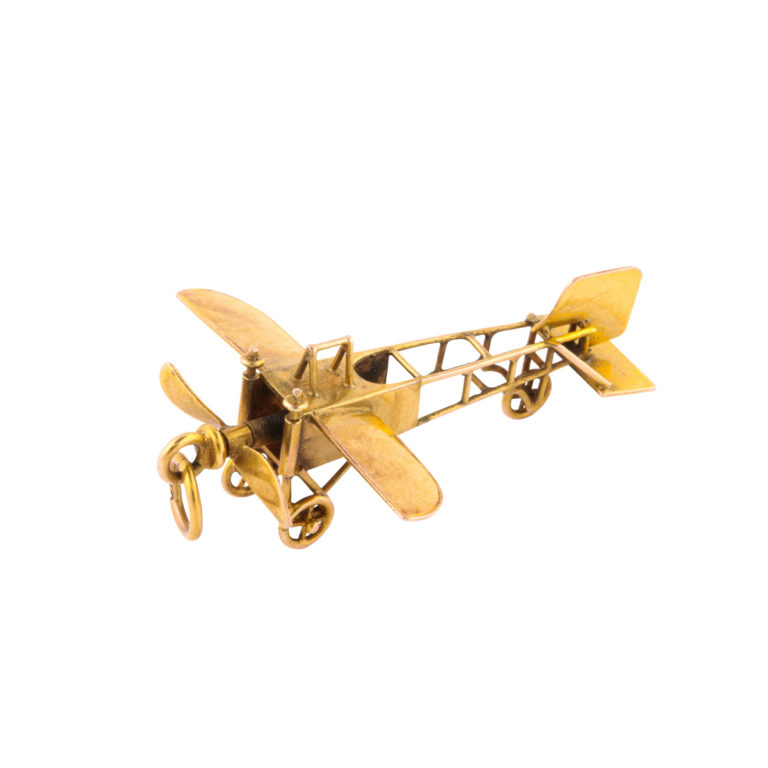 main view, Antique Gold Airplane Charm Pendant
