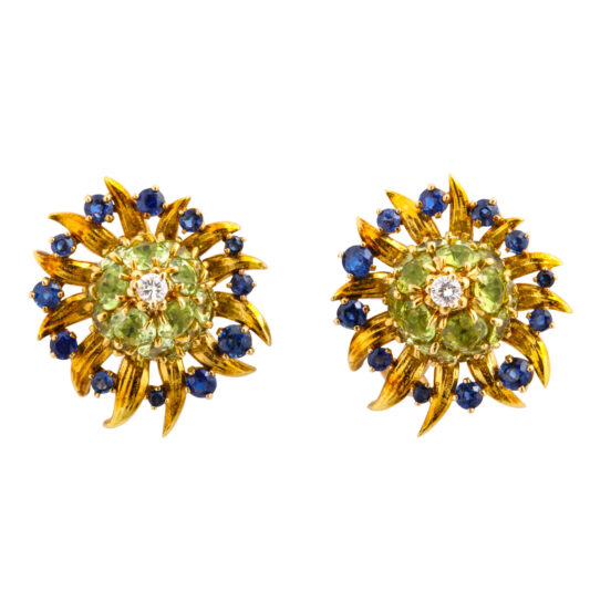 main view, Peridot, Diamond, and Sapphire Earrings by Schlumberger for Tiffany & Co.