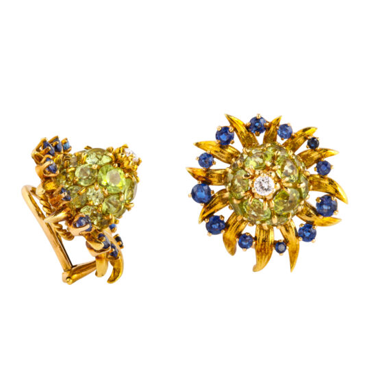 side view, Peridot, Diamond, and Sapphire Earrings by Schlumberger for Tiffany & Co.