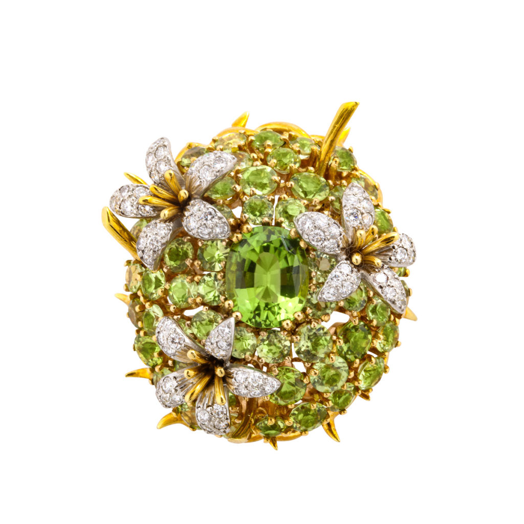 main view, Peridot and Diamond Brooch by Schlumberger for Tiffany & Co.