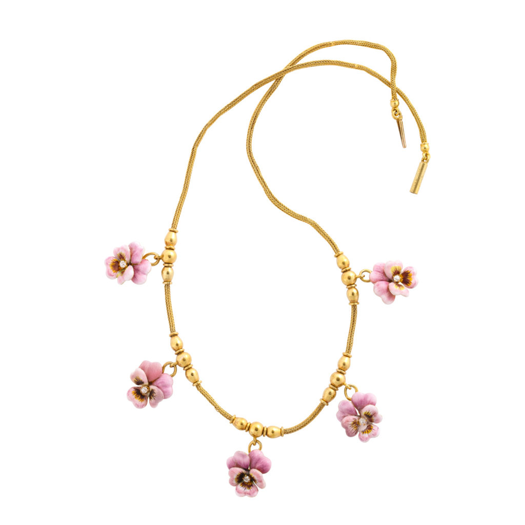 full view, Victorian Gold and Enamel Pansy Necklace