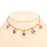 neck view, Victorian Gold and Enamel Pansy Necklace