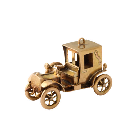 main view, Antique Gold Car Charm Pendant with top up
