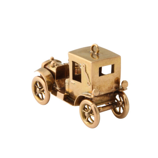 back view, Antique Gold Car Charm Pendant with top up