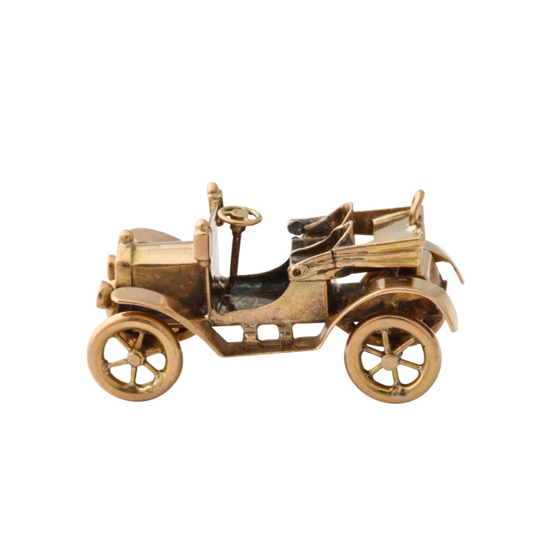 main view, Antique Gold Car Charm Pendant with top down