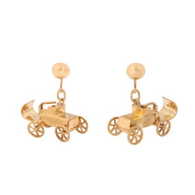 main view, Antique Gold Automobile Pendant Earrings