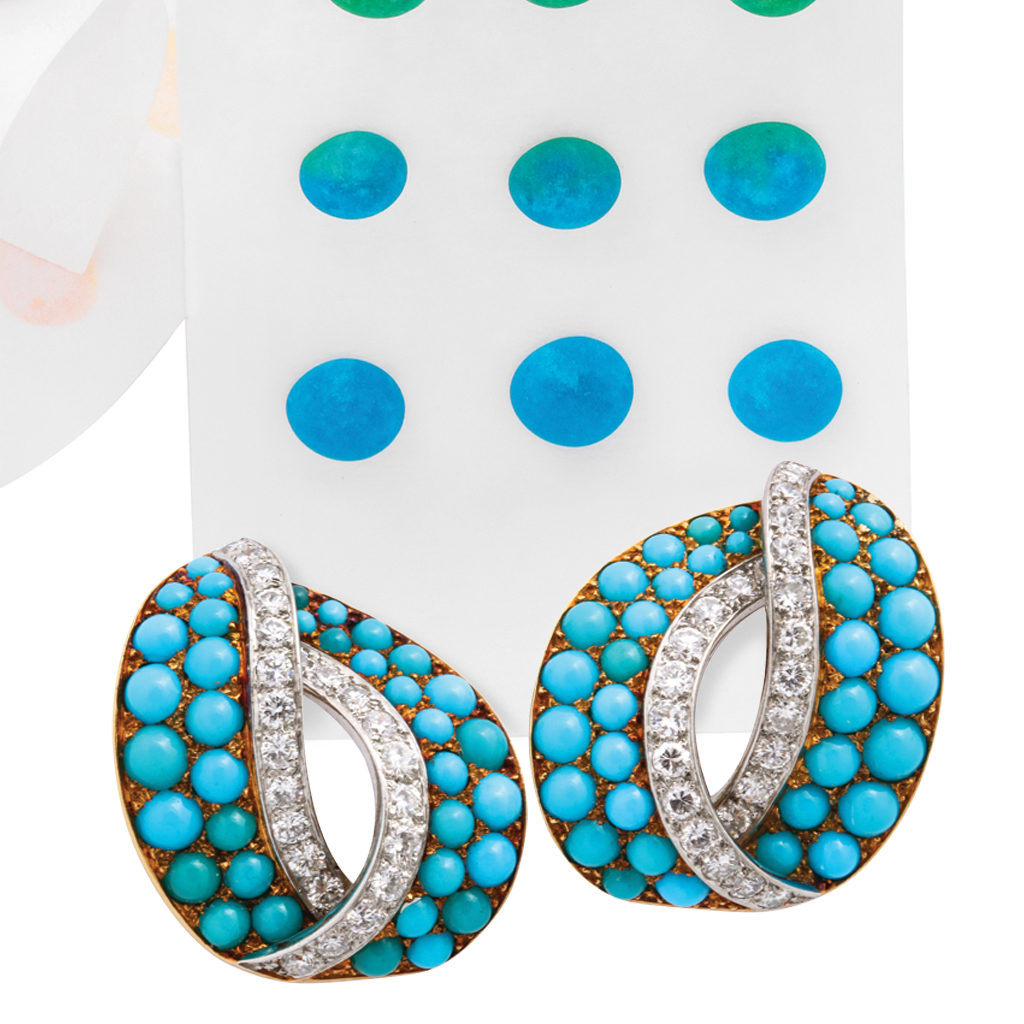 Cartier turquoise and diamond ear clips with candy dots
