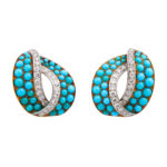main view, 1950s Turquoise and Diamond Clip Earrings by Cartier