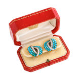 Box view, 1950s Turquoise and Diamond Clip Earrings by Cartier