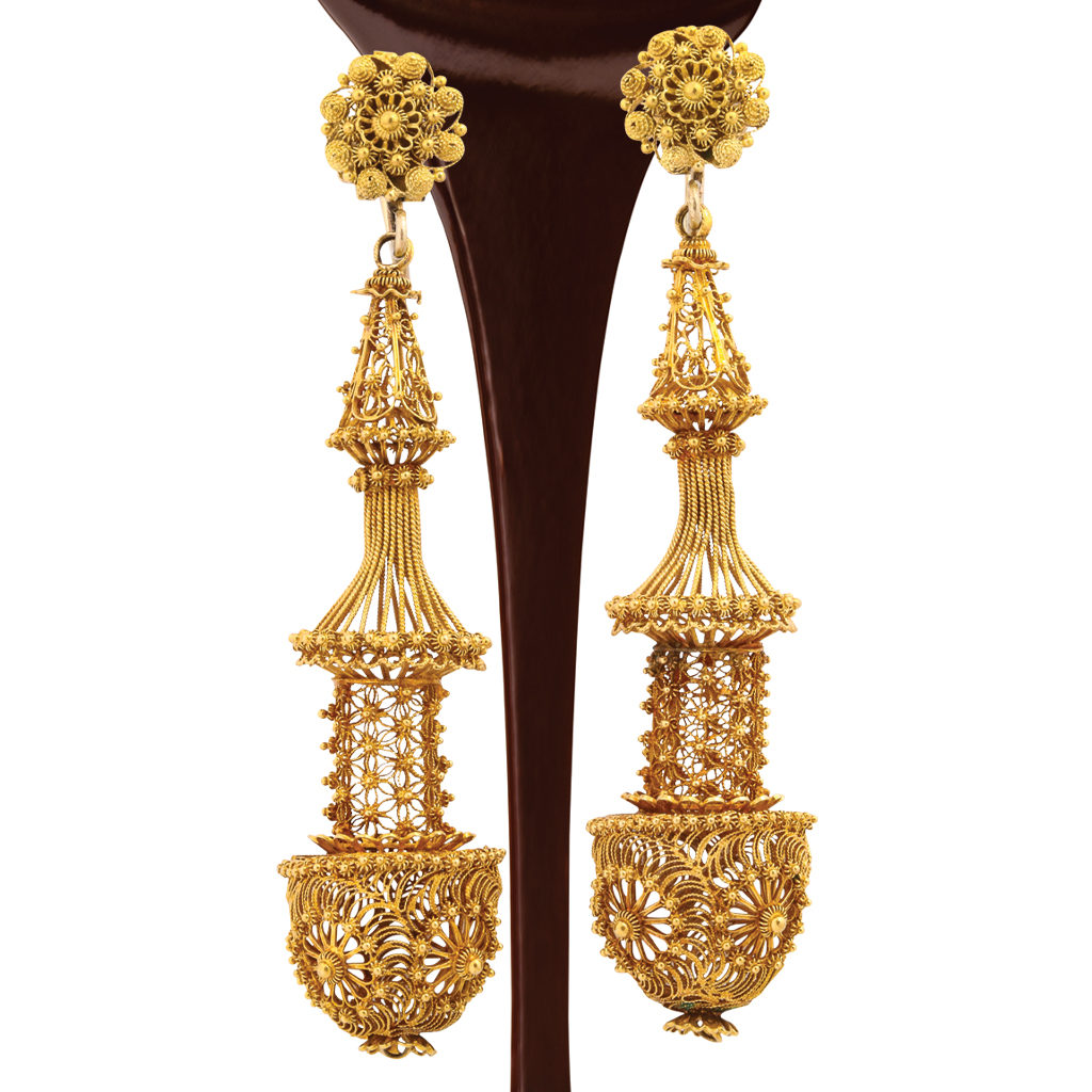 Antique gold filigree earrings with chocolate syrup