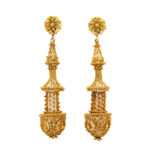 main view, Antique Gold Filigree Pendant Earrings