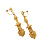 other view, Antique Gold Filigree Pendant Earrings