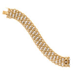 main view, 1950s Woven Gold and Diamond Bracelet by Cartier