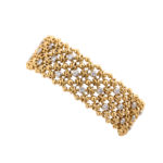 other view, 1950s Woven Gold and Diamond Bracelet by Cartier