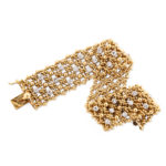 additional view illustrating flexibility, 1950s Woven Gold and Diamond Bracelet by Cartier
