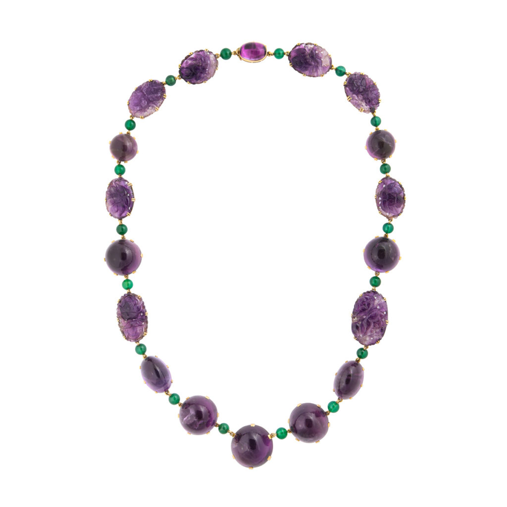 necklace view, 1950s Amethyst Necklace and Bracelet by Boivin