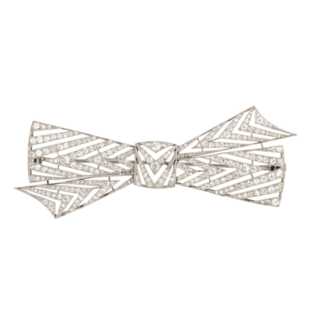 main view, Diamond Bow Brooch by Janesich