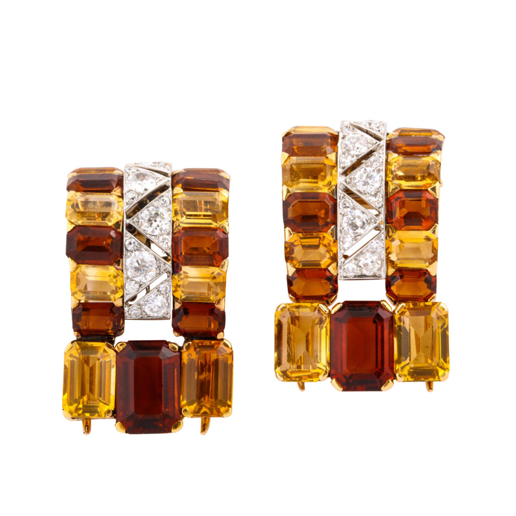 main view, Citrine and Diamond Dress Clips by Cartier