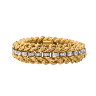 main view, Gold Curb Link and Diamond Bracelet by Tiffany & Co.