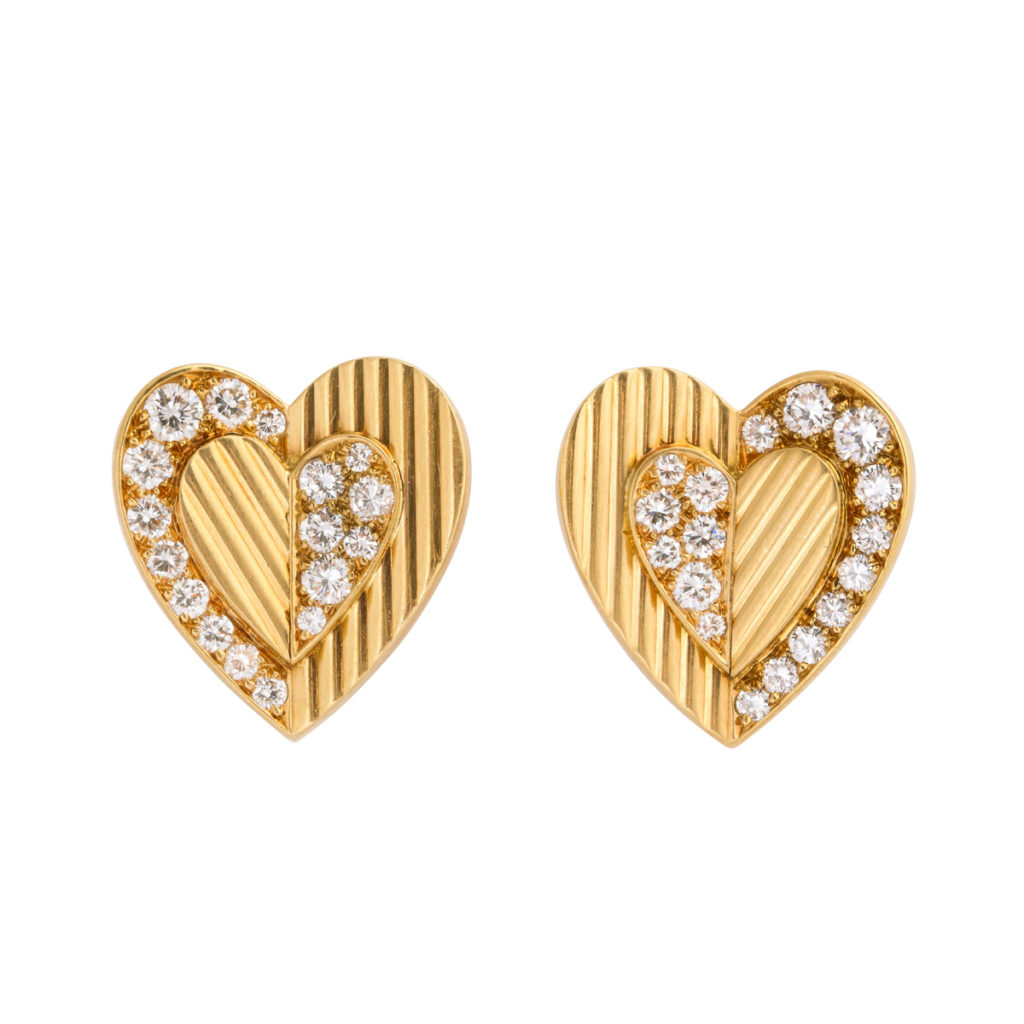 main view, 1960s Gold and Diamond Heart Earrings by Cartier