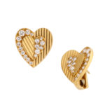 other view, 1960s Gold and Diamond Heart Earrings by Cartier