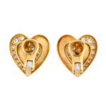 back view, 1960s Gold and Diamond Heart Earrings by Cartier