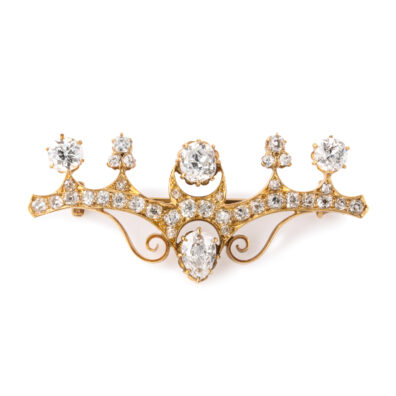 main view, Antique Russian Diamond Brooch