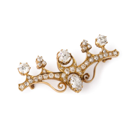 angled view, Antique Russian Diamond Brooch