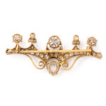 back view, Antique Russian Diamond Brooch
