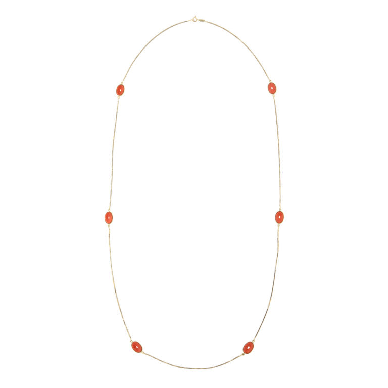 other view, 1960s Gold and Coral Chain Necklace by Gucci