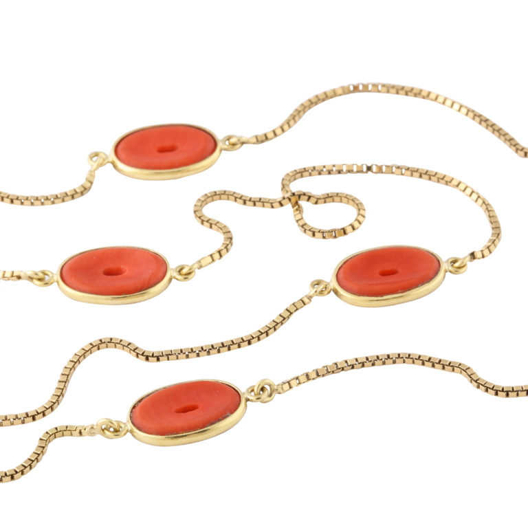 detail view, 1960s Gold and Coral Chain Necklace by Gucci