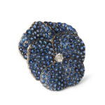 other view, Antique Montana Sapphire Pansy Brooch