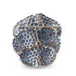 back view, Antique Montana Sapphire Pansy Brooch