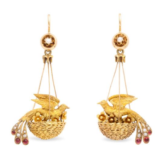 main view, Victorian Gold Bird Nest Earrings