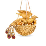 detail view, Victorian Gold Bird Nest Earrings