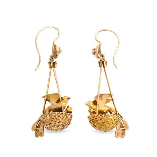 back view, Victorian Gold Bird Nest Earrings
