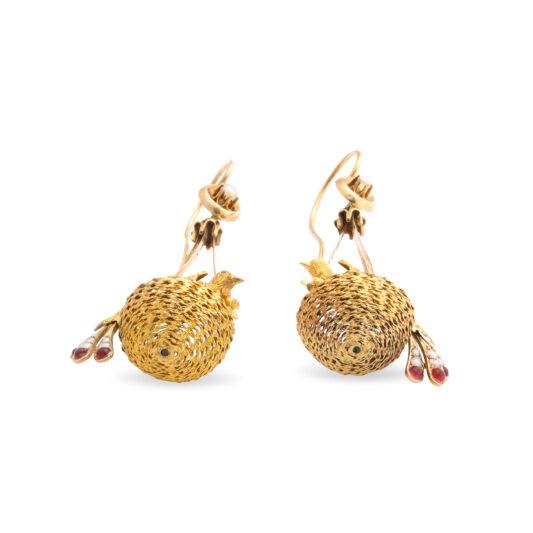 bottom detail, Victorian Gold Bird Nest Earrings
