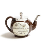 teapot only view of set of Fabergé Scottish Cumnock Pottery Motto Ware Teapot and Sugar Bowl