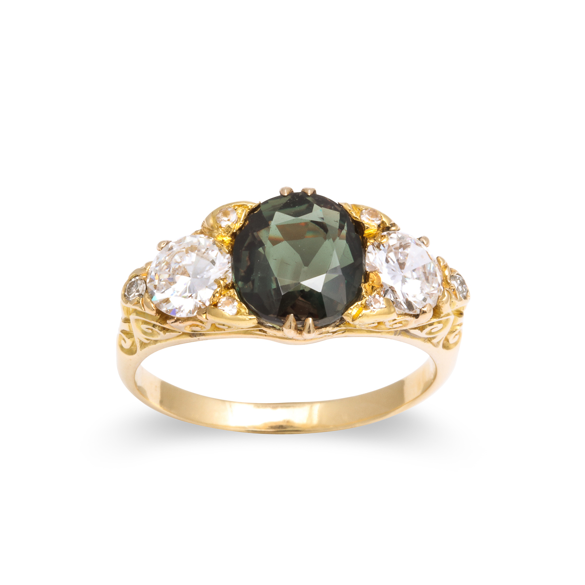 green color view, Victorian Alexandrite and Diamond Ring