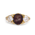 red color, Victorian Alexandrite and Diamond Ring