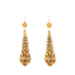 main view, Victorian Gold Archaeological Revival Earrings