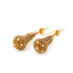bottom view, Victorian Gold Archaeological Revival Earrings