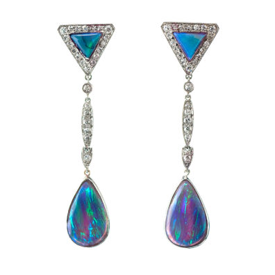 Main view, Black Opal and Diamond Earrings