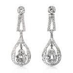 main view, 1920s Diamond Drop Earrings